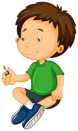 Boy in green shirt playing with light illustration Illustration
