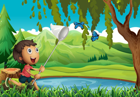 children pond: Boy catching butterflies with net illustration Illustration