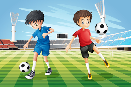 playing soccer: Boys playing soccer in the field illustration Illustration