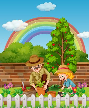 tree planting: Father and daughter planting tree in garden illustration