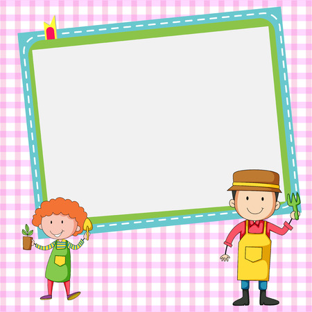 jobs people: Frame design with two gardeners illustration