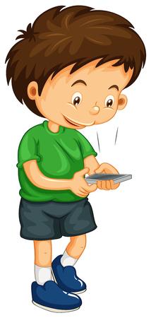Littley jongen nummerkeuze nummer op de telefoon illustratie Stock Illustratie