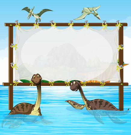 sea bird: Frame design with dinosaurs in the sea illustration