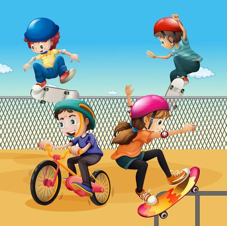 extreme sports: Children riding bike and skateboarding illustration