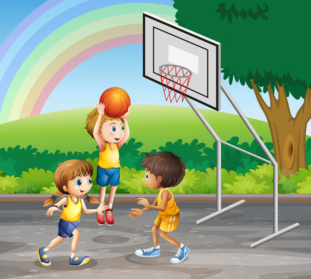 kids outside: Three children playing basketball at the court illustration