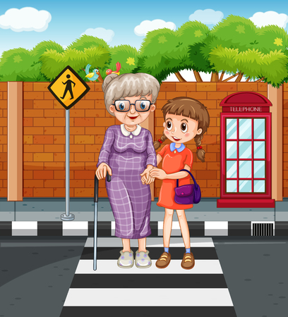 children drawing: Girl helping grandmother crossing the street illustration