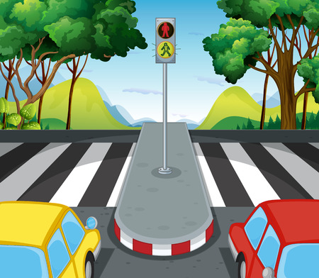 cars on road: Road scene with zebra crossing and cars illustration