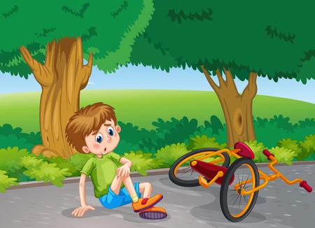 공원 그림에서 자전거에서 아래로 떨어지고 소년