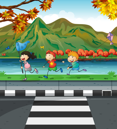pavement: Three kids playing on the pavement illustration