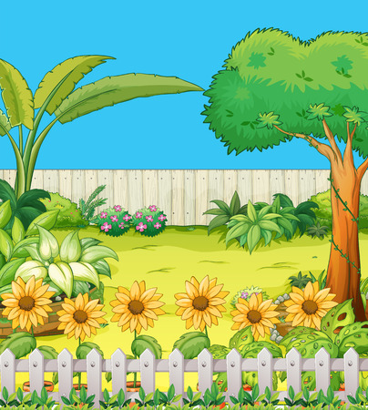 Scene con alberi e fiori in giardino illustrazione