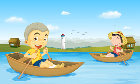 rowing boat: Two boys rowing boat in the lake illustration