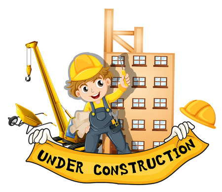 worker working: Worker working at the construction site illustration Illustration