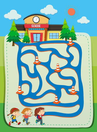 school activities: Game template with children going to school illustration