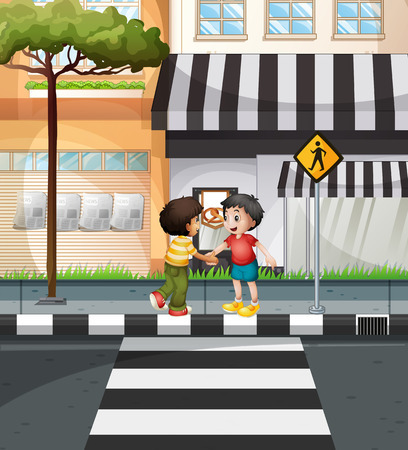 crossing street: Two boys waiting to cross the road illustration Illustration
