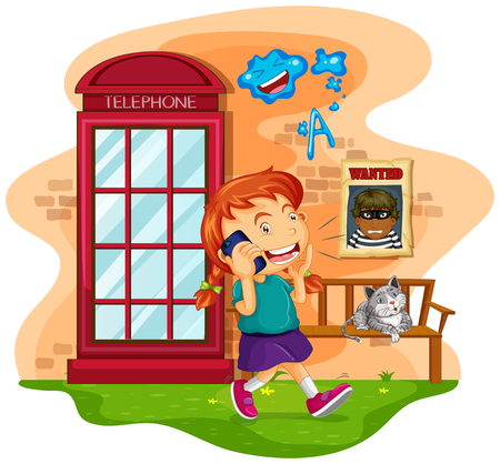 talking phone: Girl talking on the mobile phone illustration
