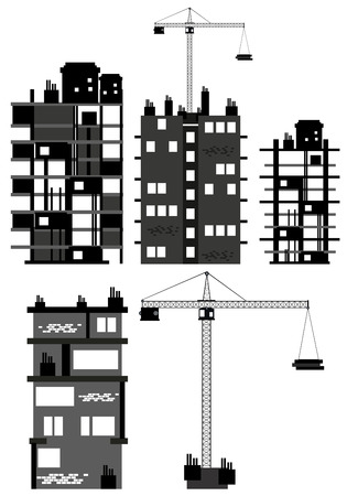 building bricks: Buildings and construction equipment illustration