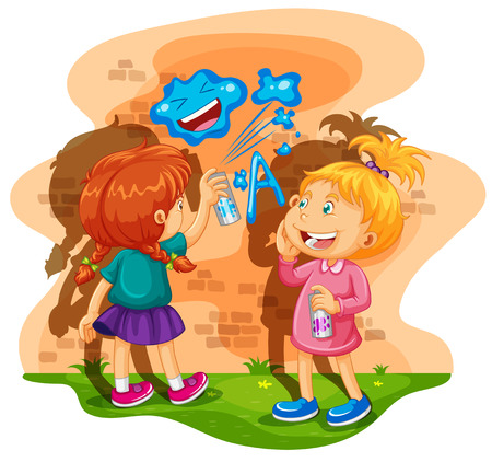 dirty girl: Two girls spray painting the wall illustration Illustration