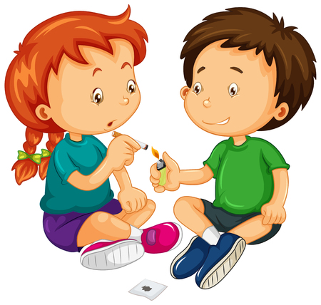 girls smoking: Boy and girl trying to smoke illustration