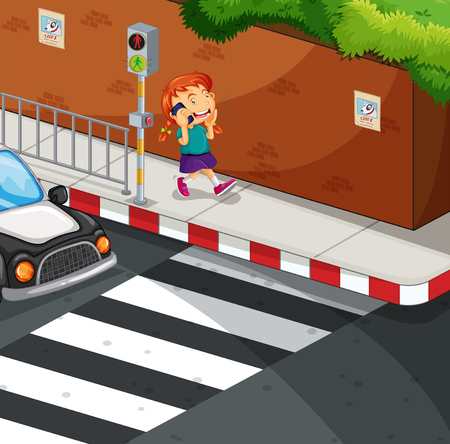 curb: Girl talking on the phone on the road illustration