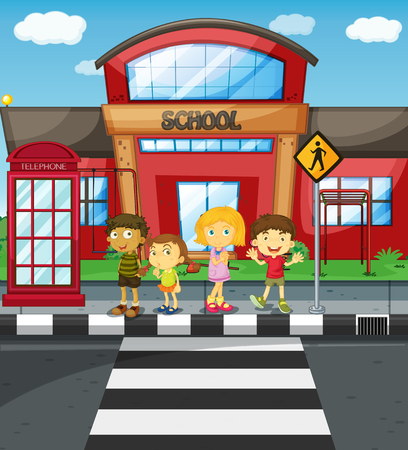 city traffic: Kids waiting to cross the road in front of school illustration