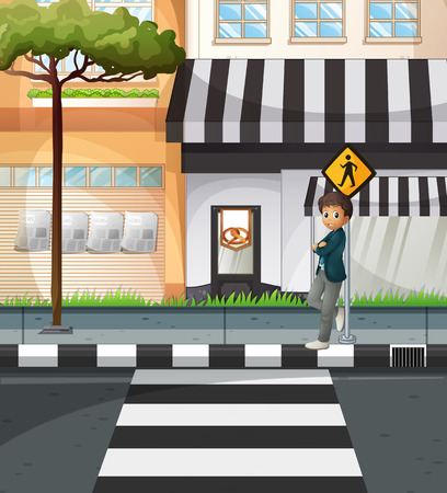 Man waiting at the crossing sign illustration