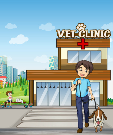 curb: People taking pet to animal clinic illustration