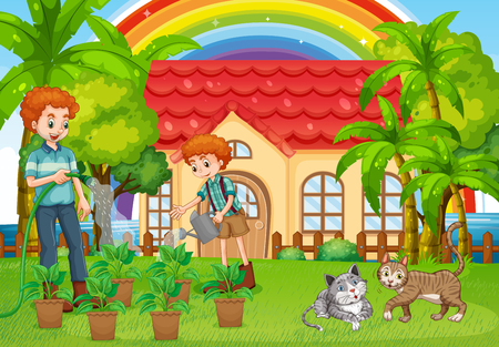 outside the house: Dad and son watering plants in garden illustration