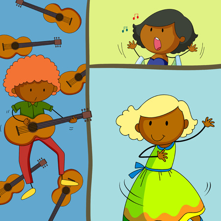 clip art: Musician playing guitar and girls singing illustration