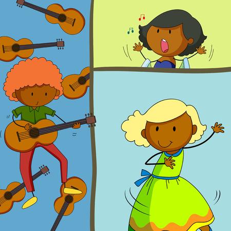 chanteur opéra: Musicien guitare et chant filles illustration jeu