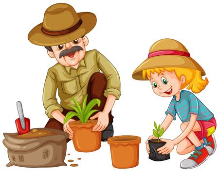 Dziadek i kid sadzenie drzew ilustracji Ilustracje wektorowe