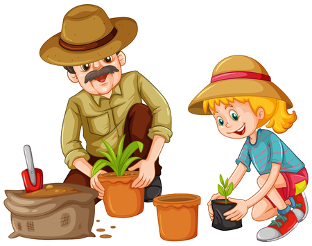 Grandfather and kid planting trees illustration
