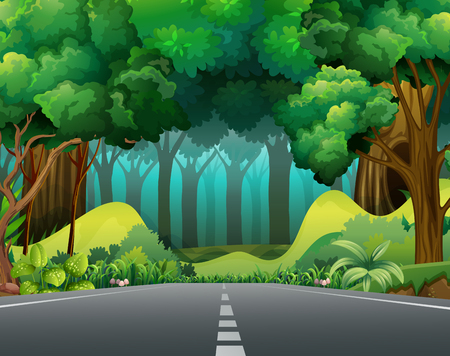 digital art: Road to the forest illustration