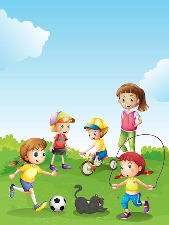 kids having fun: Kids having fun in the park illustration Illustration