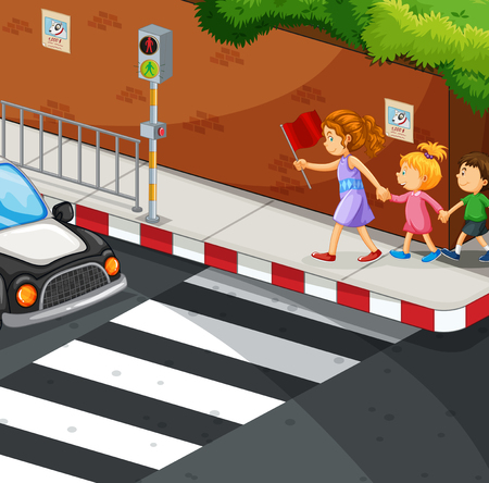 curb: Children walking on the pavement illustration