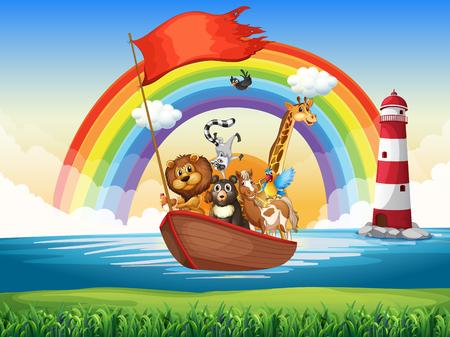 Wilde dieren rijden op roeiboot illustratie
