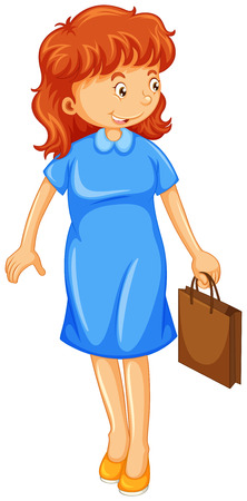 blue dress: Woman in blue dress holding paper bag illustration