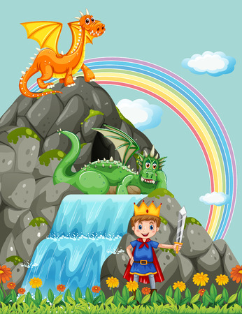 man waterfalls: Prince and dragons at the waterfall illustration