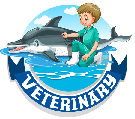 veterinary sign: Veterinary sign with vet and dolphin illustration