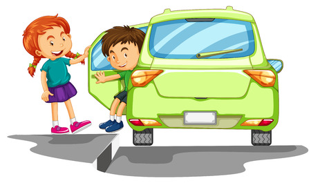 car driving: Boy getting out of green car illustration