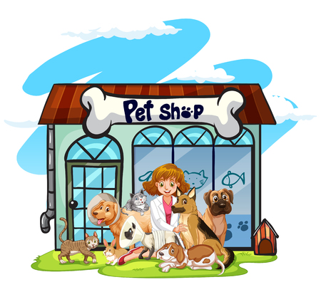 Vet and many pets at pet shop illustration