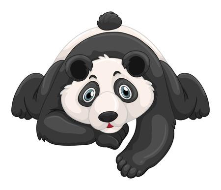 crawling creature: Cute panda crawling on the ground illustration Illustration