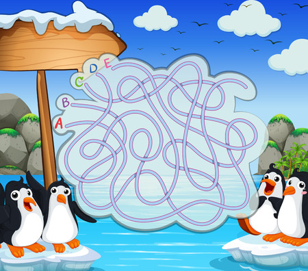 northpole: Game template with penquins on iceberg illustration Illustration