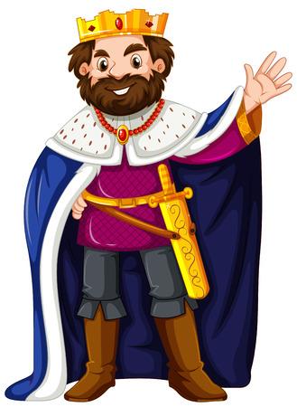 Robe: King wearing blue robe illustration