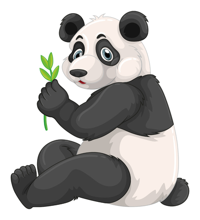 chewing: Panda chewing green leaves illustration Illustration