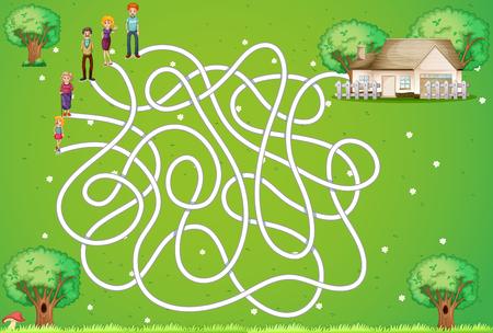 家族と家のイラストと迷路ゲーム  イラスト・ベクター素材