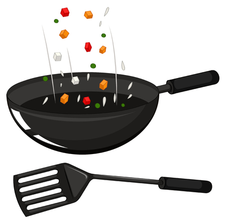 fryer: Frying pan and black spatula illustration
