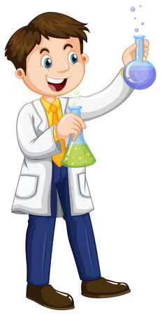 to a scientist: Male scientist holding beakers illustration