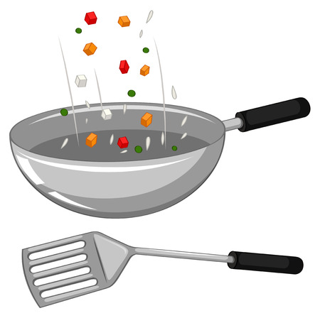 pans: Frying pan and spatula illustration