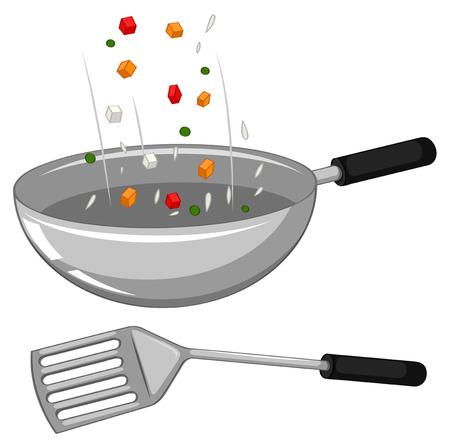 Poêle à frire et une spatule illustration Vecteurs
