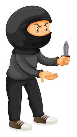 holding a knife: Robber in black holding a knife illustration Illustration